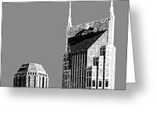 Nashville Skyline AT and T Batman Building - Pewter Greeting Card by DB Artist