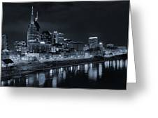 Nashville Skyline At Night Greeting Card by Dan Sproul