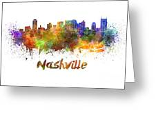Nashville Skyline In Watercolor Greeting Card by Pablo Romero