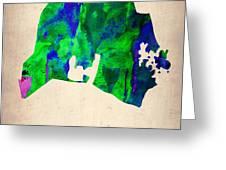 Nashville Watercolor Map Greeting Card by Naxart Studio
