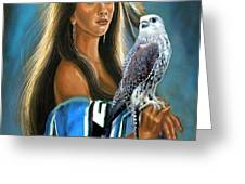 Native American maiden with falcon Greeting Card by Gina Femrite