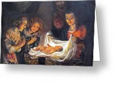 Nativity Scene Study Greeting Card by Donna Tucker