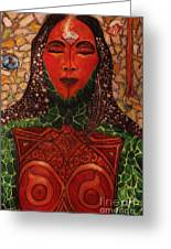 Natural Warrior Goddess Greeting Card by Cynthia Hagenhoff