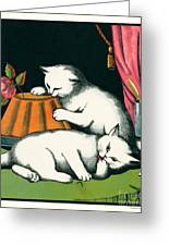 Naughty Cats Preen And Lounge With Rose Topped Cake Greeting Card by Pierpont Bay Archives