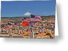 Navajo Veteran's Memorial Cemetery Tsehootsooi Greeting Card by Christine Till