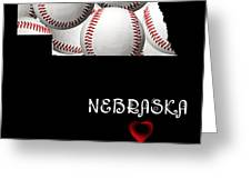 Nebraska Loves Baseball Greeting Card by Andee Design