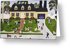 Neighborhood Dog Show Greeting Card by Linda Mears