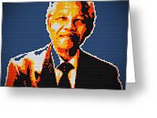 Nelson Mandela Lego Pop Art Greeting Card by Georgeta Blanaru
