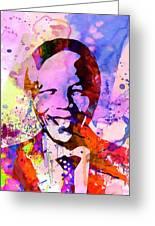 Nelson Mandela Watercolor Greeting Card by Naxart Studio