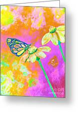 Neon Butterfly Greeting Card by Rhonda Lee