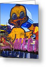 Neon Duck Greeting Card by Garry Gay