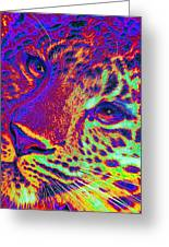 Neon Leopard Greeting Card by Jane Schnetlage