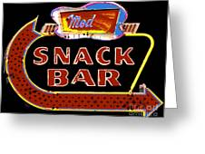 Neon Vintage Snack Bar Sign Greeting Card by ArtyZen Studios