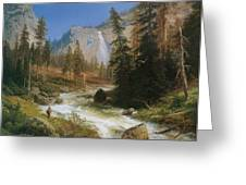 Nevada Fall Yosemite Greeting Card by Herman Herzog