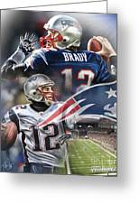 New England Patriots Greeting Card by Mike Oulton