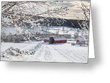 New England Winter Farms Square Greeting Card by Bill  Wakeley