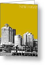 New Haven Skyline - Gold Greeting Card by DB Artist