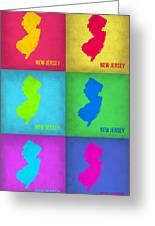 New Jersey Pop Art Map 1 Greeting Card by Naxart Studio