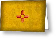 New Mexico State Flag Art On Worn Canvas Greeting Card by Design Turnpike