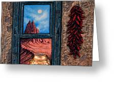New Mexico Window Gold Greeting Card by Ricardo Chavez-Mendez