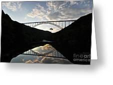 New River Bridge -  Base Jumper Greeting Card by Dan Friend