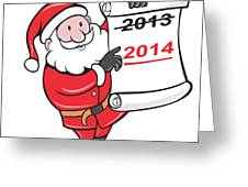 New Year 2014 Santa Claus Scroll Sign Greeting Card by Aloysius Patrimonio