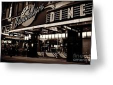 New York At Night - Brooklyn Diner - Sepia Greeting Card by Miriam Danar