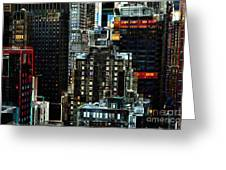 New York At Night - Skyscrapers And Office Windows Greeting Card by Miriam Danar