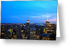 New York By Night Greeting Card by Eric Dewar