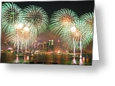New York City Fireworks Greeting Card by Songquan Deng