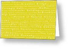 New York City In Words Yellow Greeting Card by Sabine Jacobs
