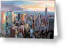 New York City - Manhattan Skyline In Warm Sunlight Greeting Card by M Bleichner