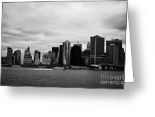New York City Manhatten Winter Shoreline Greeting Card by Joe Fox