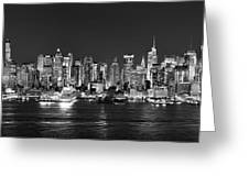 New York City Nyc Skyline Midtown Manhattan At Night Black And White Greeting Card by Jon Holiday