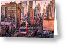 New York City - Skycrapers And The Roosevelt Island Tram Greeting Card by Vivienne Gucwa