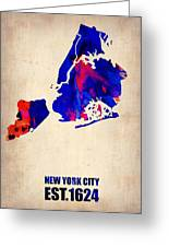 New York City Watercolor Map 1 Greeting Card by Naxart Studio