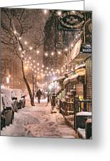 New York City - Winter Snow Scene - East Village Greeting Card by Vivienne Gucwa
