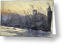 New York Harbor And Skyline At Night Circa 1921 Greeting Card by Aged Pixel