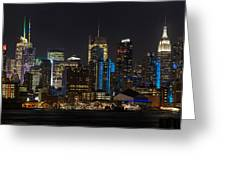 New York In Blue Greeting Card by Mike Reid