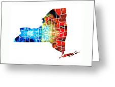 New York - Map By Sharon Cummings Greeting Card by Sharon Cummings