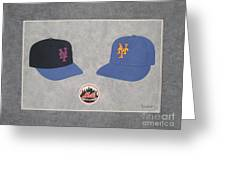 New York Mets Caps Greeting Card by Herb Strobino