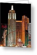 New York-new York Hotel Las Vegas - Pop Art Style Greeting Card by Ian Monk