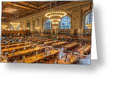New York Public Library Main Reading Room Ix Greeting Card by Clarence Holmes