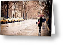 New York Rain - Greenwich Village Greeting Card by Vivienne Gucwa