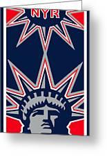 New York Rangers Greeting Card by Tony Rubino