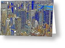 New York Skyline 20130430v4-square Greeting Card by Wingsdomain Art and Photography