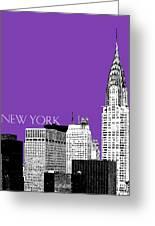 New York Skyline Chrysler Building - Purple Greeting Card by DB Artist