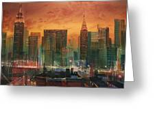 New York the Emerald City Greeting Card by Tom Shropshire