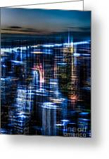 New York - The Night Awakes - Blue I Greeting Card by Hannes Cmarits