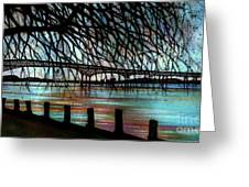 Newburgh - Beacon Bridge Night Sky Greeting Card by Janine Riley